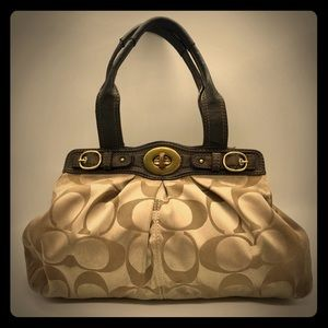 Brown and Gold Carpetbag Style Purse